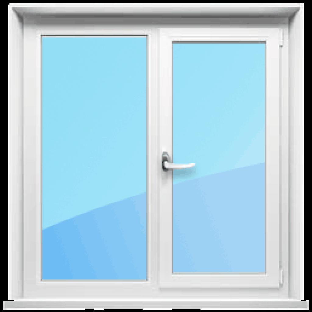 Двустворчатое окно с одной открывающейся створкой