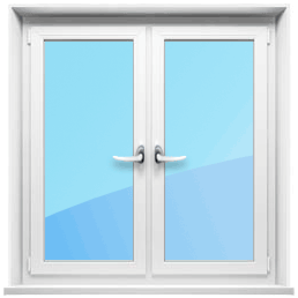 Двустворчатое окно с двумя открывающимися створками