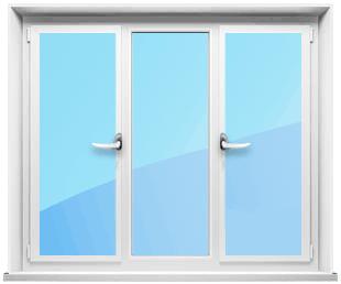 Трехстворчатое окно с двумя открывающимися створками