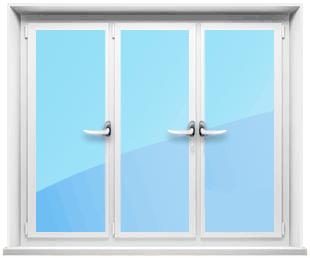 Трехстворчатое окно с тремя открывающимися створками